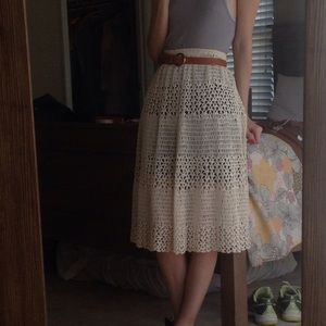 Vintage knit crochet cream white skirt S
